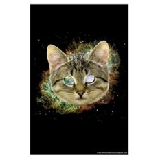 Space Cat Wall Art Poster