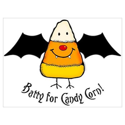Batty For Candy Corn Wall Art Poster