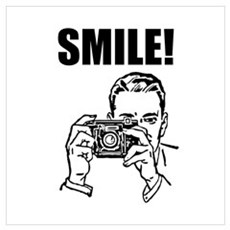 Vintage Camera Smile Wall Art Poster