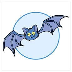 Cute Bat Cartoon Wall Art Poster