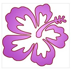 Surf Flowers (Purple with Red Wall Art Poster