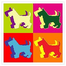 Scottish Terrier Silhouette Pop Art Wall Art Poster
