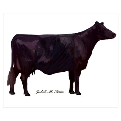 Angus Cow Wall Art Poster