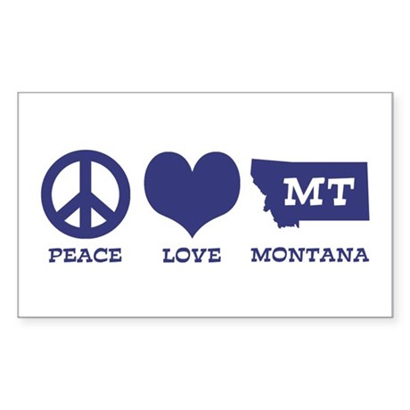 Peace Love Montana Sticker (Rectangle)