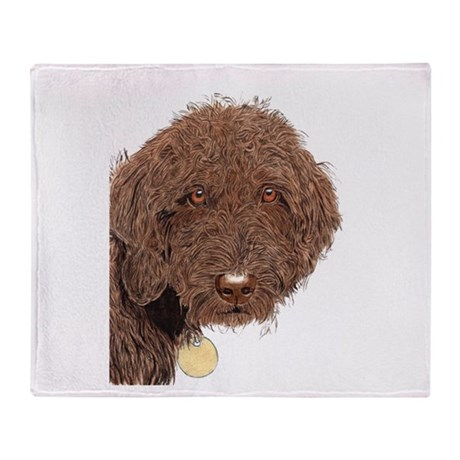 Chocolate Labradoodle 2 Throw Blanket