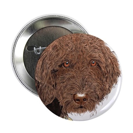 "Chocolate Labradoodle 2 2.25"" Button"