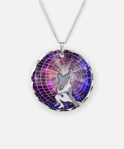 Ice Dancers in Colorful Circ Necklace