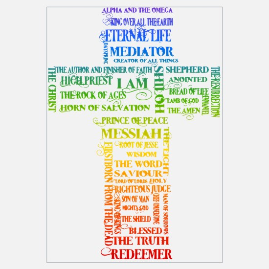 Jesus' Names Cross (rainbow) Wall Art