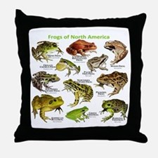Frogs of North America Throw Pillow