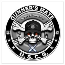 USCG Gunners Mate Skull GM Wall Art Framed Print