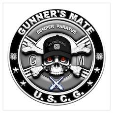 USCG Gunners Mate Skull GM Wall Art Poster