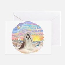 OceanSunrise-ShihTzu#10 Greeting Card