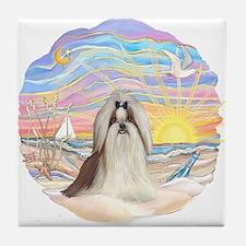 OceanSunrise-ShihTzu#10 Tile Coaster