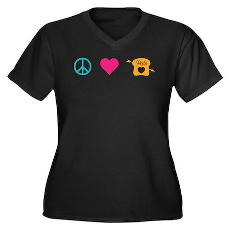 HG Peace Love Peeta Women's Plus Size V-Neck Dark