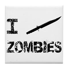 I Stab Zombies Tile Coaster