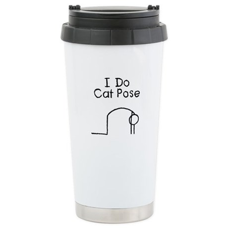 Black Cat Pose Stainless Steel Travel Mug