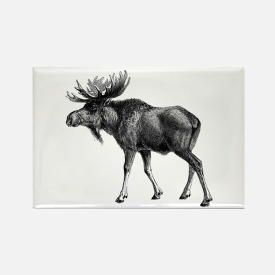 Moose drawing Rectangle Magnet