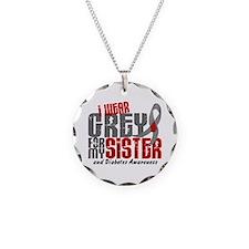 I Wear Grey 6 Diabetes Necklace Circle Charm