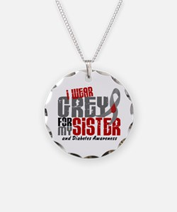 I Wear Grey 6 Diabetes Necklace Circle Charm