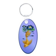 Gold Koi and Deep Blue Lilies Aluminum Oval Keycha