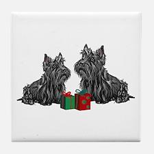 Scottie Christmas Tile Coaster