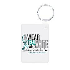 I Wear Teal White 10 Cervical Cancer Keychains