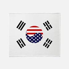 Korean-American Flag Throw Blanket