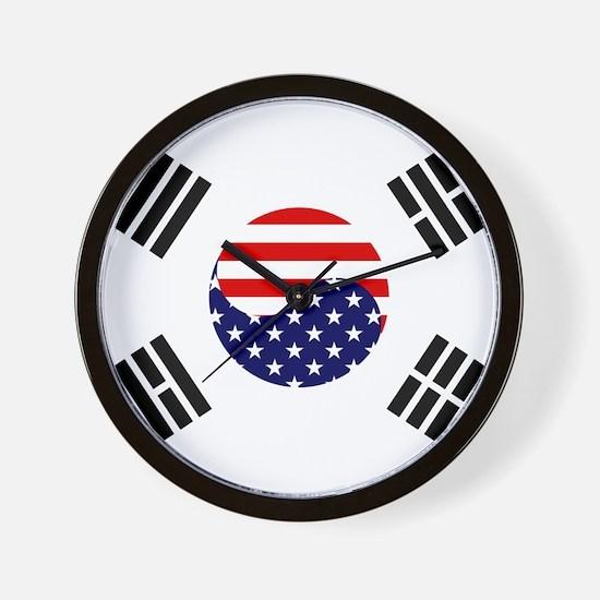 Korean-American Flag Wall Clock