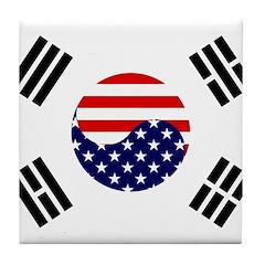 Korean-American Flag Tile Coaster