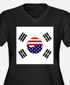Korean-American Flag Women's Plus Size V-Neck Dark