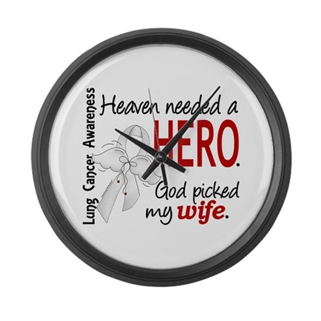 Heaven Needed a Hero Lung Cancer Large Wall Clock