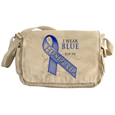 I Wear Blue for my Husband Messenger Bag