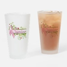 Survivor Floral Drinking Glass