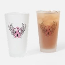 Awareness Tribal Pink Drinking Glass