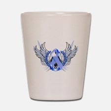 Awareness Tribal Blue Shot Glass