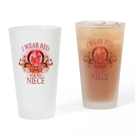 I Wear Red For My Niece (flor Drinking Glass