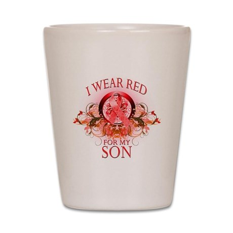I Wear Red For My Son (floral Shot Glass