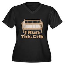 I Run This Crib Women's Plus Size V-Neck Dark T-Sh