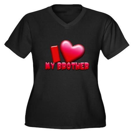 I Love Brother Women's Plus Size V-Neck Dark T-Shi