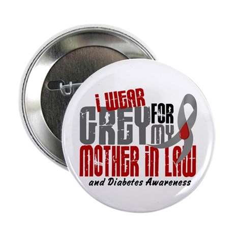 "I Wear Grey 6 Diabetes 2.25"" Button (100 pack)"