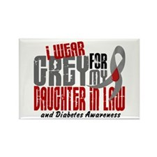 I Wear Grey 6 Diabetes Rectangle Magnet