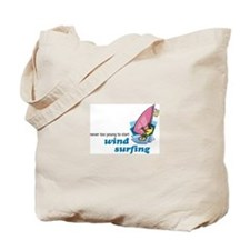 Never Too Young to Start Wind Surfing Tote Bag