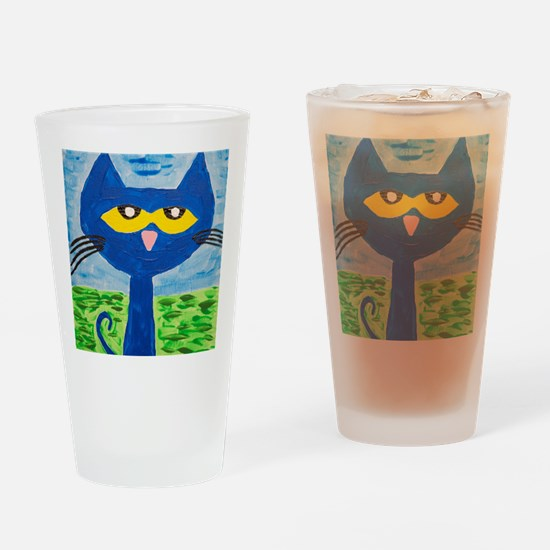 Unique Blue cat Drinking Glass
