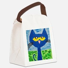 Cute Blue cat Canvas Lunch Bag