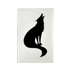 Black Wolf Rectangle Magnet (10 pack)