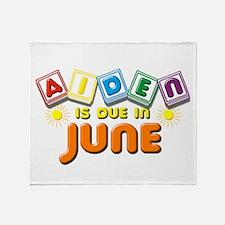 Aiden is Due in June Throw Blanket