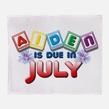Aiden is Due in July Throw Blanket