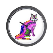 Cat of Many Colors Wall Clock