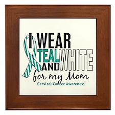 I Wear Teal White 10 Cervical Cancer Framed Tile