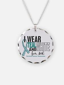 I Wear Teal White 10 Cervical Cancer Necklace